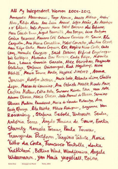 "Conjugar no Plural, poster by Carla Cruz about AMIW for ""Para Além das Palavras"" exhibition curated by Ana Gabriela Macedo and Ana Cristina Assis, 2012"