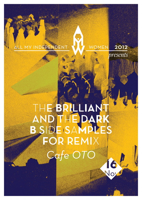 Flyer by Virginia Valente for The Brilliant and the Dark, B side Samples for remix, a project by Open Music archive for AMIW 2012